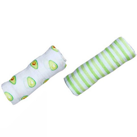Malabar baby's 100% GOTS certified organic cotton super soft baby swaddle 2 pack. Swaddles get softer after every wash. The perfect newborn and baby shower gift. Swaddle 1 has a beautiful green avocado design and swaddle #2 has a beautiful green and white stripe design. These swaddles are stunning and gender neutral. The perfect baby shower gift. Comes packaged in an eco-friendly gift box with top handle.