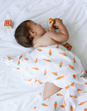 Malabar Baby | Organic Muslin Swaddles | 2 Pack | Carrot + Orange Stripes