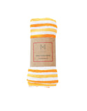 Malabar Baby | Breathable Organic Muslin Swaddle | Orange Stripe Baby Wrap