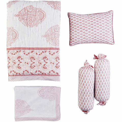 5 Pc Crib Bedding with Receiving Blanket Set