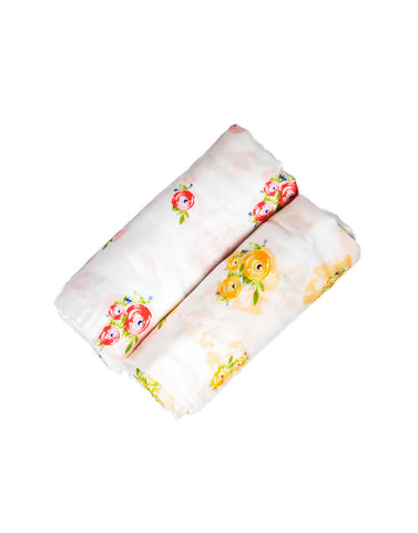 Malabar Baby | Silky Soft Bamboo Swaddles | 2 Pack | Floral Garden