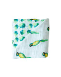 Malabar Baby | Organic Muslin 4 Layer Blanket | Parrots + Leaves