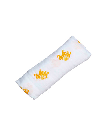 Malabar baby's 100% GOTS certified organic cotton super soft baby swaddle. Swaddle gets softer after every wash. The perfect newborn and baby shower gift. This swaddle has a beautiful yellow elephant design. It's stunning and gender neutral.