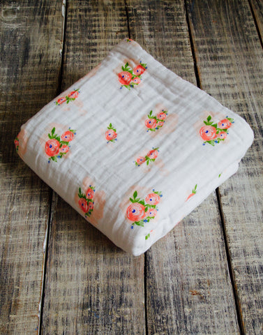 Malabar Baby | Organic Muslin 4 Layer Blanket | Pink Watercolor Flower