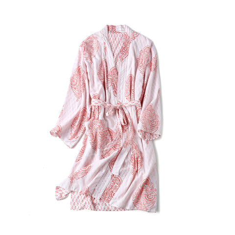 Block-Printed Robe - Pink City