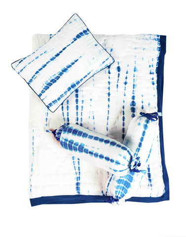 KYOTO BLUE CRIB BEDDING SET (4-Piece)