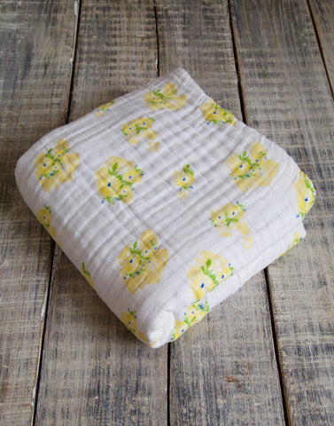 Malabar Baby | Organic Muslin 4 Layer Blanket | Yellow Watercolor Flower