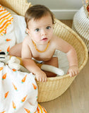 Malabar Baby | Organic Muslin 4 Layer Blanket | Carrots + Orange Stripe