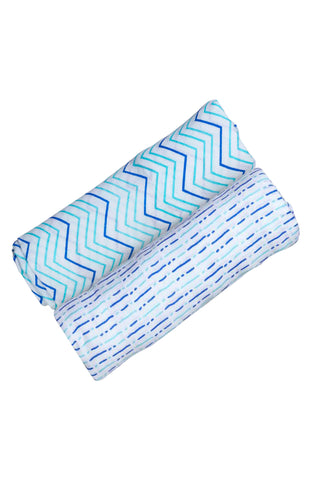 ORGANIC SWADDLE SET - SHADES OF BLUE
