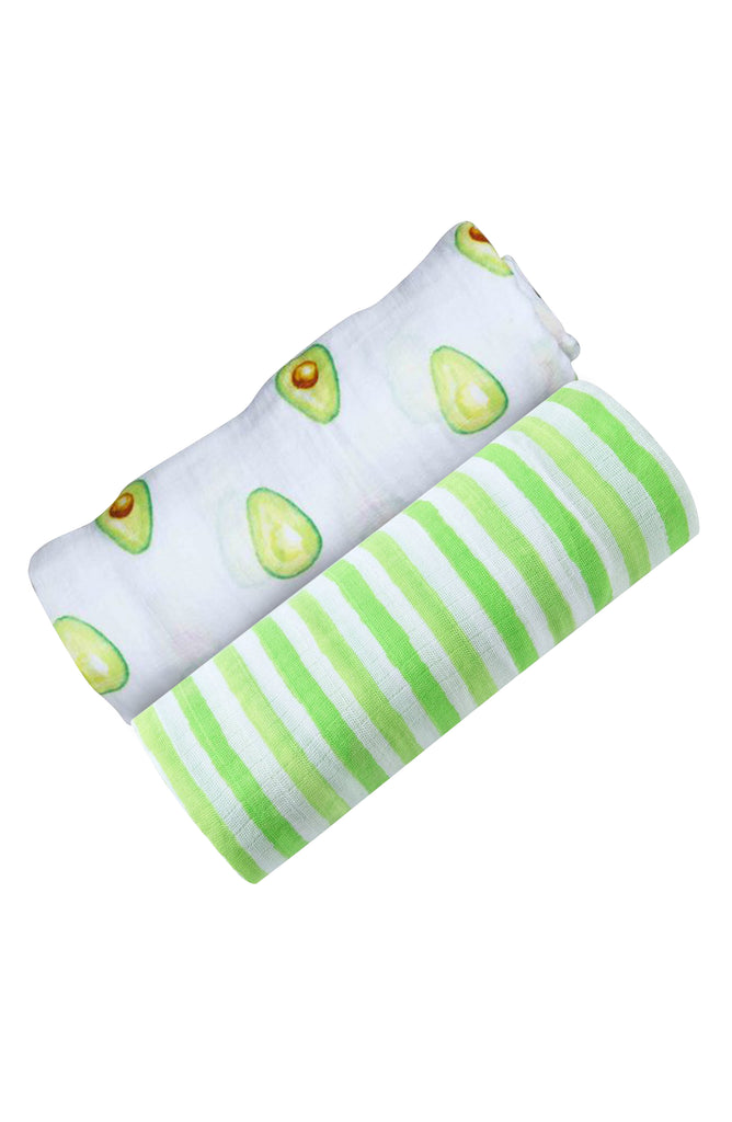 ORGANIC SWADDLE SET - AVOCADO GREEN STRIPE