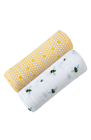 ORGANIC SWADDLE SET - BUSY BEES