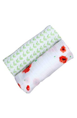 ORGANIC SWADDLE SET - POPPYFIELD GRASS