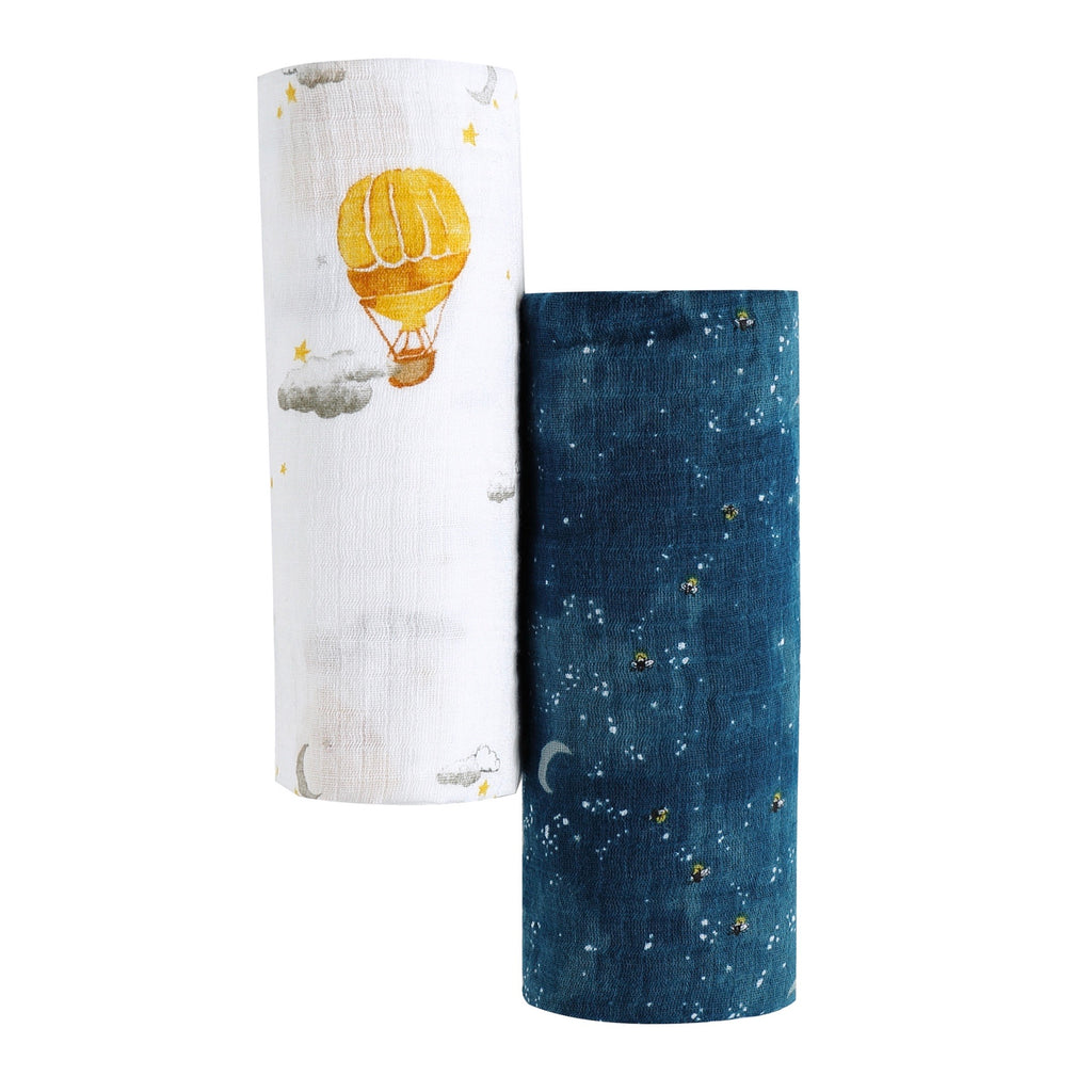 Malabar Baby | Organic Muslin Swaddles | 2 Pack | Fly Me To The Moon
