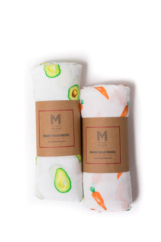 Malabar Baby | Organic Muslin Swaddles | 2 Pack | First Foods