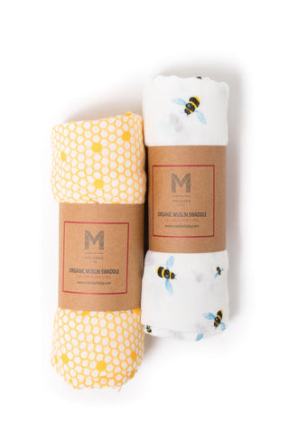 Malabar baby's 100% GOTS certified organic cotton super soft baby swaddle 2 pack. Swaddles get softer after every wash. The perfect newborn and baby shower gift. Swaddle #1 has a beautiful bee hive design and swaddle #2 has a beautiful bee design. These swaddles are stunning and gender neutral. The perfect baby shower gift. Comes packaged in an eco-friendly gift box with top handle.