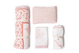 The perfect gift set for babies. The ultimate baby registry item. Gift Set includes a handmade, block-printed crib quilt, a handmade receiving blanket which was featured in Vogue, a baby pillow for raveling and tummy time and a handmade hooded XL plush winter towel. Girls - pink and white.
