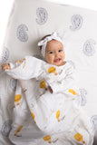 Malabar baby's 100% GOTS certified organic cotton super soft baby swaddle. Swaddle gets softer after every wash. The perfect newborn and baby shower gift. This swaddle has a beautiful white and yellow mustard hot air ballon design with clouds. It's stunning and gender neutral. The perfect baby shower gift.