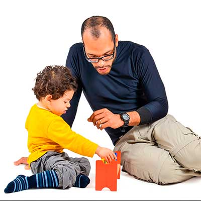 Occupational therapist working with a child