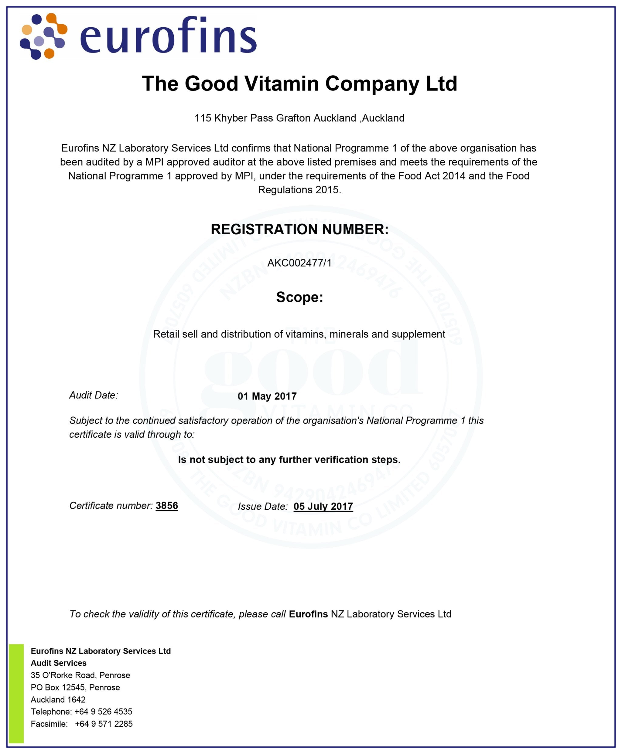 The Good Vitamin Co. Eurofins Audit Certificate 2017