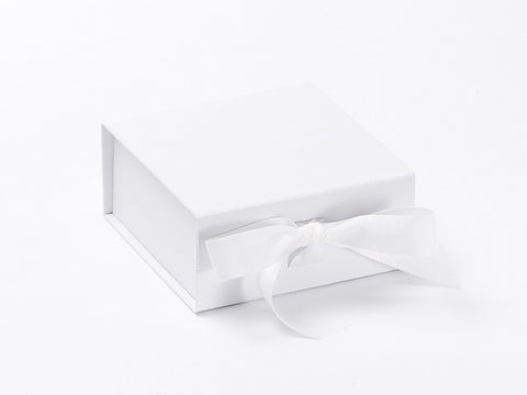 Small White Luxury Gift box with magnetic closure, and ribbon (Pack of 12)
