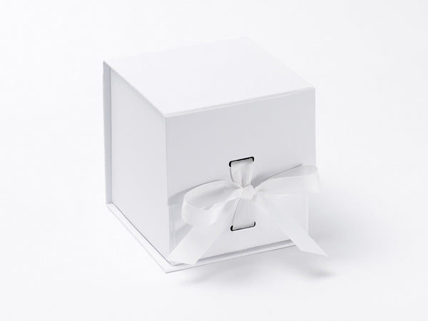 Small White cube Luxury Gift box with magnetic closure, and choice of ribbon (Pack of 12)