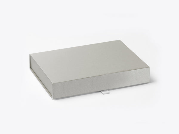 A6 Shallow Pearlescent Silver Luxury Gift box with magnetic closure (Pack of 12)