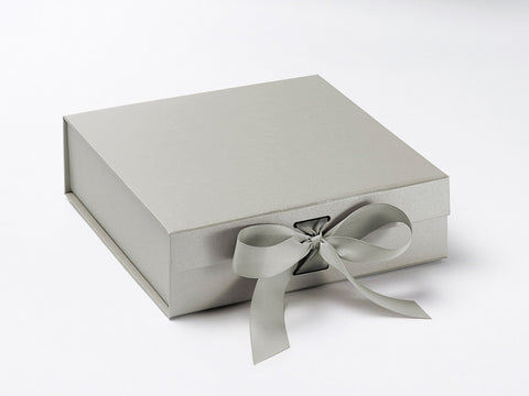 Medium Pearlescent Silver Luxury Gift box with magnetic closure, and choice of ribbon (Pack of 12)
