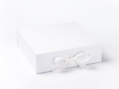 Large White Luxury Gift box with magnetic closure, and ribbon (Pack of 12)