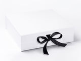 Large White Luxury Gift box with magnetic closure, and choice of ribbon (Pack of 12)