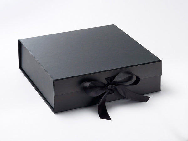 Large Black Luxury Gift box with magnetic closure, and ribbon (Pack of 12)