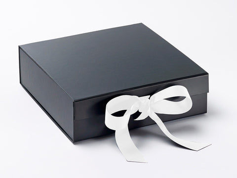 Large Black Luxury Gift box with magnetic closure, and choice of ribbon (Pack of 12)