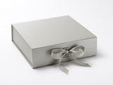 Large Pearlescent Silver Luxury Gift box with magnetic closure, and choice of ribbon (Pack of 12)