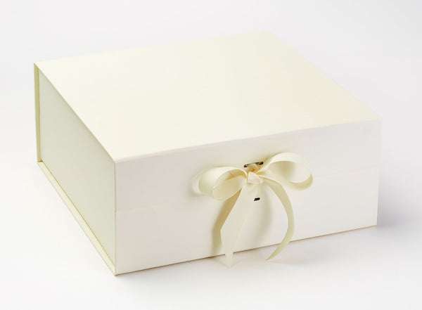 XL Deep Ivory Luxury Gift box with magnetic closure, and choice of ribbon (Pack of 12)