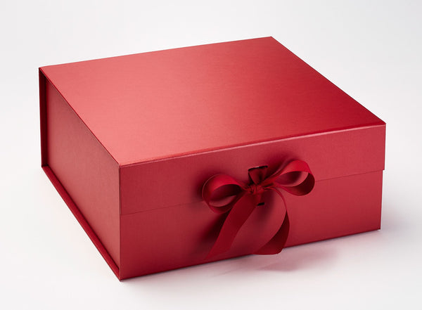 XL Deep Red Luxury Gift box with magnetic closure, and choice of ribbon (Pack of 12)