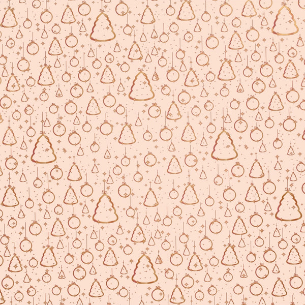 Christmas Ornaments Gold on Dusky Pink Counter Roll (100m x 30cm)