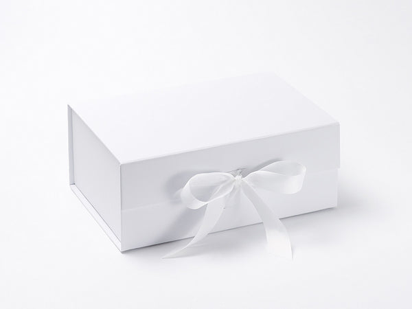 A5 Deep White Luxury Gift box with magnetic closure, and ribbon (Pack of 12)