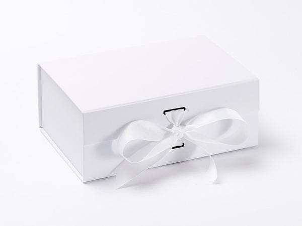 A5 Deep White Luxury Gift box with magnetic closure, and choice of ribbon (Pack of 12)