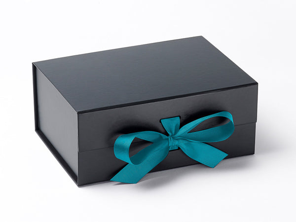 A5 Deep Black Luxury Gift box with magnetic closure, and choice of ribbon (Pack of 12)