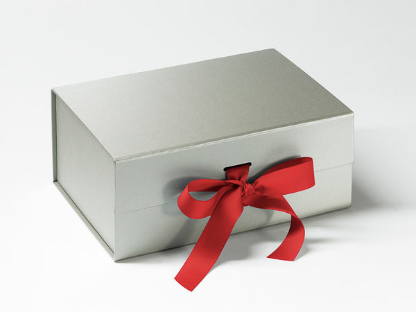 A5 Deep Pearlescent Silver Luxury Gift box with magnetic closure, and choice of ribbon (Pack of 12)