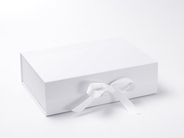A4 Deep White Luxury Gift box with magnetic closure, and ribbon (Pack of 12)