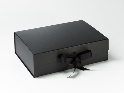 A4 Deep Black Luxury Gift box with magnetic closure, and ribbon (Pack of 12)