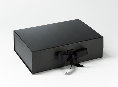 A4 Deep Black Luxury Gift box with magnetic closure, and choice of ribbon (Pack of 12)