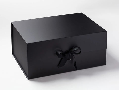 A3 Deep Black Luxury Gift box with magnetic closure, and choice of ribbon (Pack of 12)