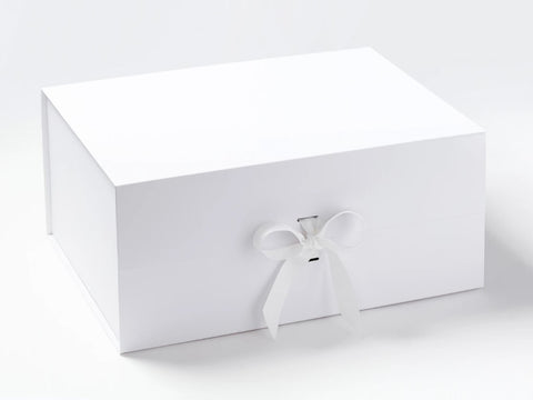 A3 Deep White Luxury Gift box with magnetic closure, and choice of ribbon (Pack of 12)