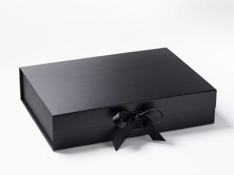 A3 Shallow Black Luxury Gift box with magnetic closure, and choice of ribbon (Pack of 12)