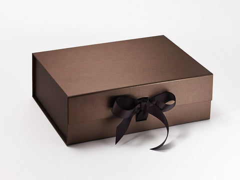 A4 Deep Pearlescent Bronze Luxury Gift box with magnetic closure, and choice of ribbon (Pack of 12)