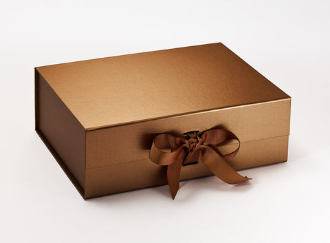 A4 Deep Pearlescent Copper Luxury Gift box with magnetic closure, and choice of ribbon (Pack of 12)