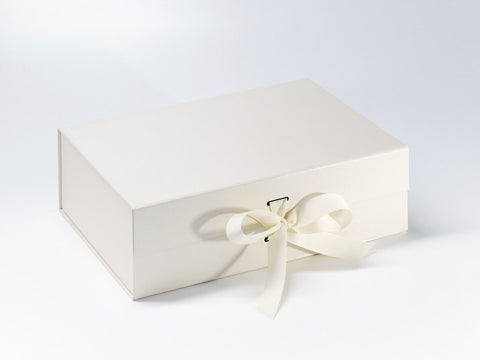 A4 Deep Ivory Luxury Gift box with magnetic closure, and choice of ribbon (Pack of 12)