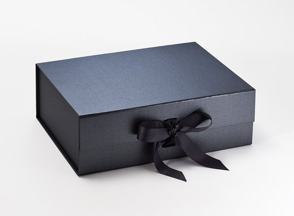 A4 Deep Pearlescent Pewter Luxury Gift box with magnetic closure, and choice of ribbon (Pack of 12)