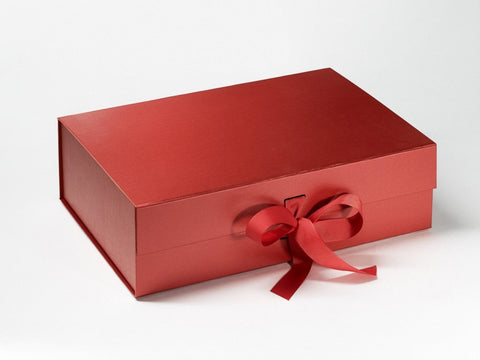A4 Deep Pearlescent Red Luxury Gift box with magnetic closure, and choice of ribbon (Pack of 12)